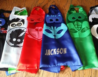 Ready to Ship! PJ Masks Cape and Mask Set! Birthday Party Packs! Party Favors!