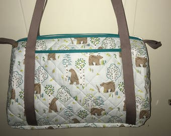 Customizable bear pattern quilted fabric diaper bag.