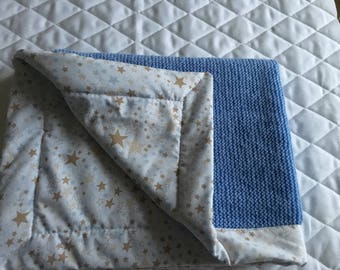 Plaid wool fabric baby blanket.