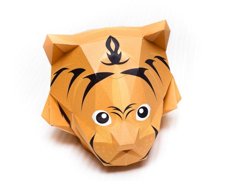 Printable Cat Head Mask Template Diy 3d Papercraft Model Etsy