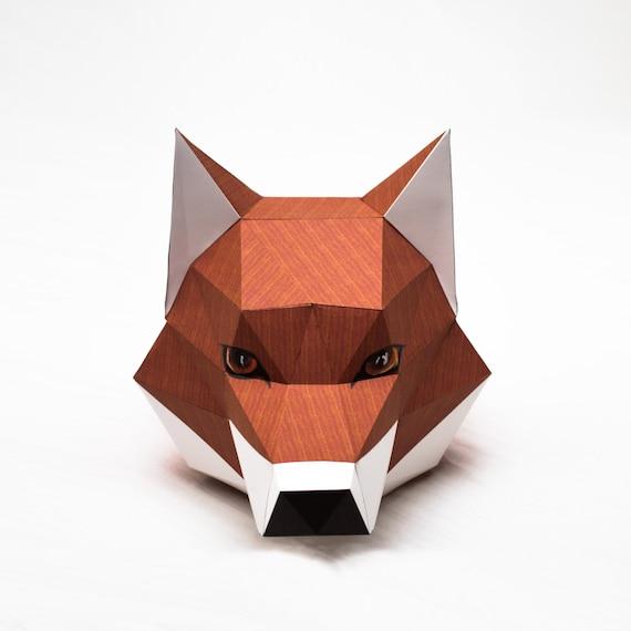 Fox Head Printable Digital Template DIY Papertoy Model from MOOKEEP ...