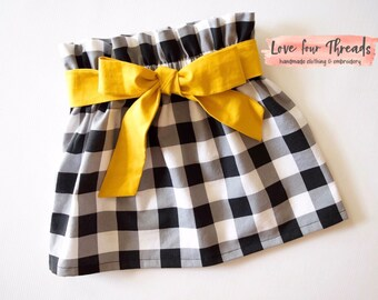 Belted Plaid Skirt, Plaid, Gingham, Paperbag Skirt, Mustard and Plaid, Belt, Skirt, Buffalo Plaid