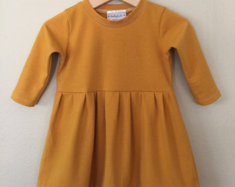 80cc36d882f5 Baby toddler girl dress - long sleeve - made to order -mustard dress -color  mustard solid