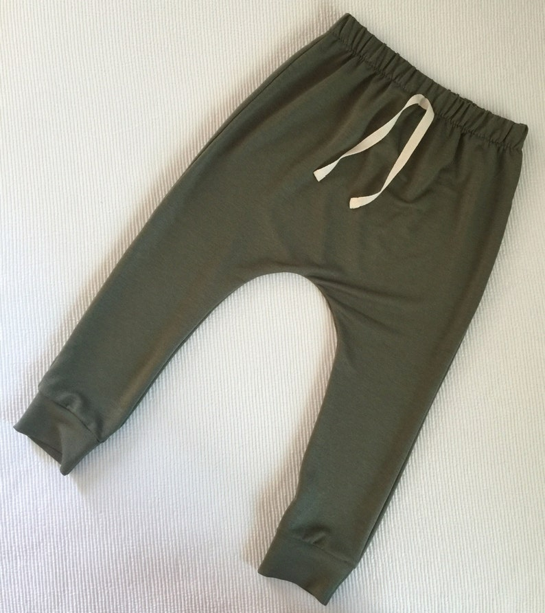 hipster baby olive green made to order Baby toddler harem joggers comfy pants fall gender neutral for girls boys