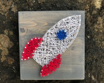 MADE TO ORDER- Mini Rocketship String Art- Space Shuttle- Solr System Decor