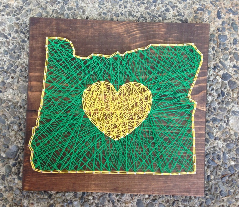 Made To Order Oregon String Art Green And Yellow Oregon Ducks