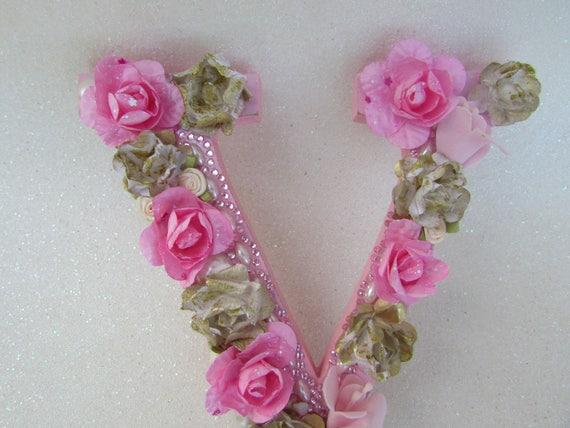 Floral name letter flower letter v custom name letter etsy thecheapjerseys Gallery