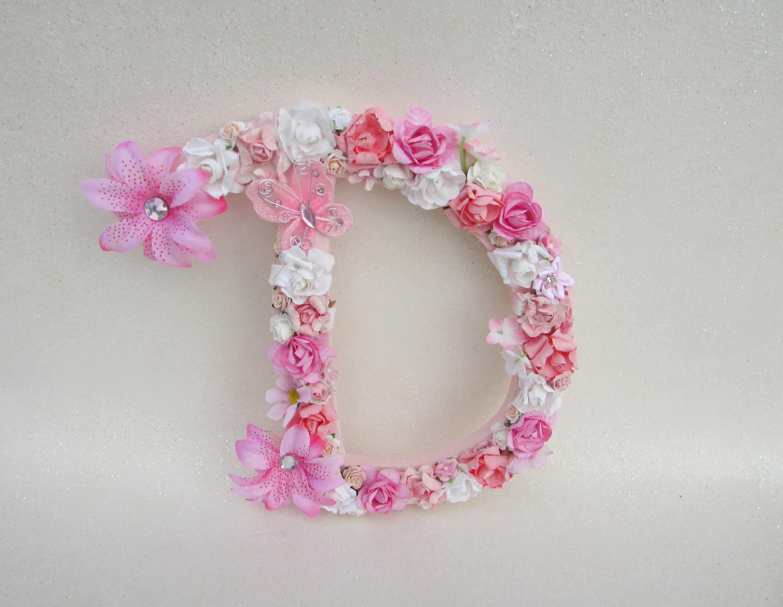 Custom letter D Floral letter D Flower letter Nursery wall | Etsy