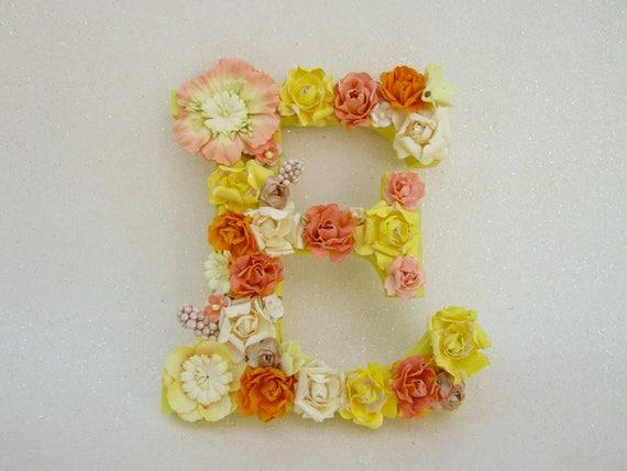 Flower name letter flower letter e yellow and orange etsy image 0 mightylinksfo