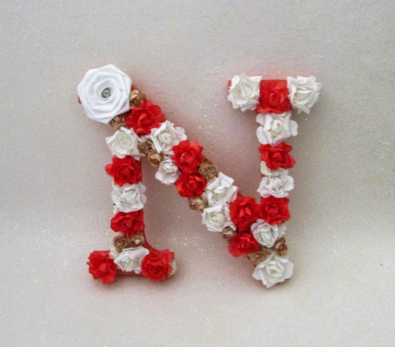 Custom letter N Flower name letter Floral letter N Coral | Etsy