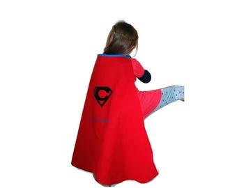 Custom costume customizable and reversible superhero Cape - gift-birthday hero with a name-child costume Cape
