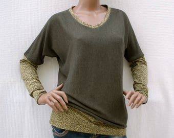 Girl of the Savannah - Long sleeve bi-material sweater, khaki knit sweater and leopard print, recycling, upcycling, eco-mode, green fashion