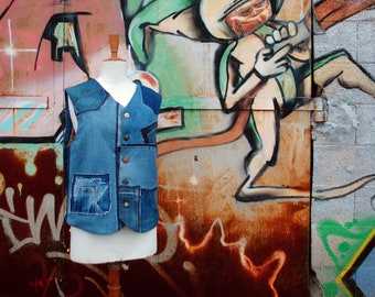 """Men's vest """"PATCHWORK BLUE DENIM"""" in recycled jeans, Custom-made, jeans vest, denim upcycled vest, upcycling, recycling, ecological fashion"""