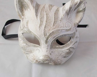 Gatto mask masquerade handmade of plaster and putty, cat mask, half face mask, venetian style, masquerade ball, mardi gras by mademeathens