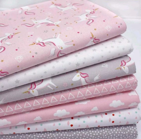 Beautiful unicorn cot bed duvet cover bumper pillowcase and nappy stacker