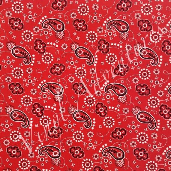 Bandana Heat Transfer Vinyl Red Pattern Htv Paisley Etsy