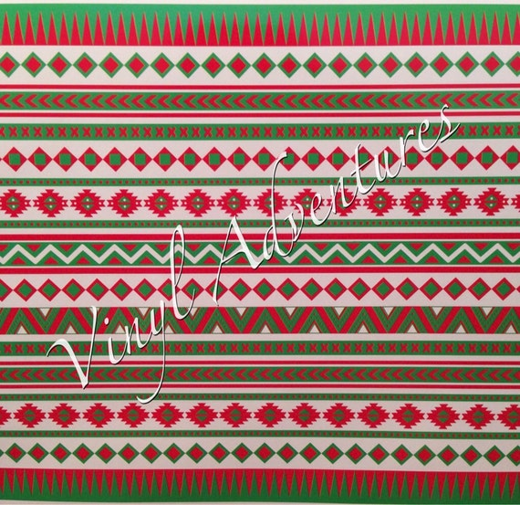 Heat Transfer Vinyl Aztec Tribal Pattern HTV Red Green White Etsy Magnificent Aztec Tribal Pattern