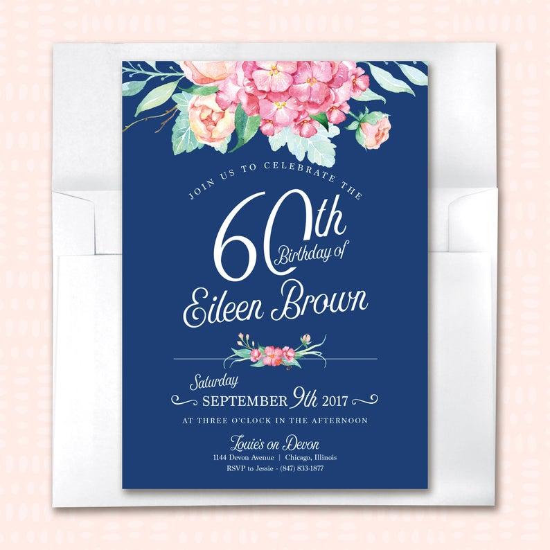 60th Birthday Invitation For Women Printable Moms