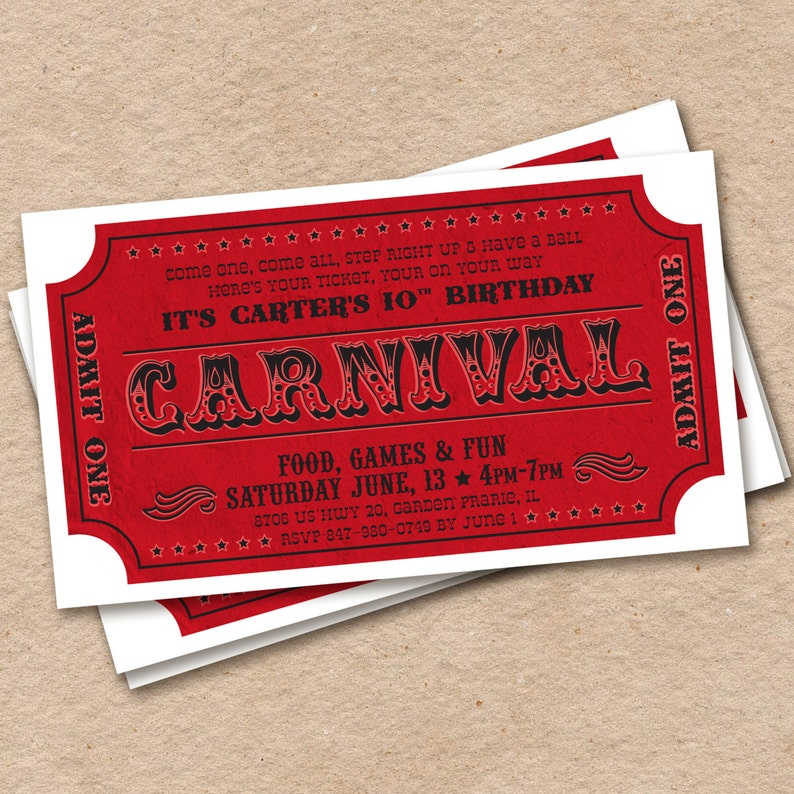 photograph regarding Printable Carnival Tickets identified as Printable Carnival Ticket Invitation, Circus Birthday Celebration Invitation, Pleasurable Realistic Invite