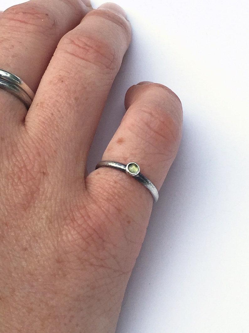 Silver Peridot Ring Peridot Stacking Ring August Birthstone Ring