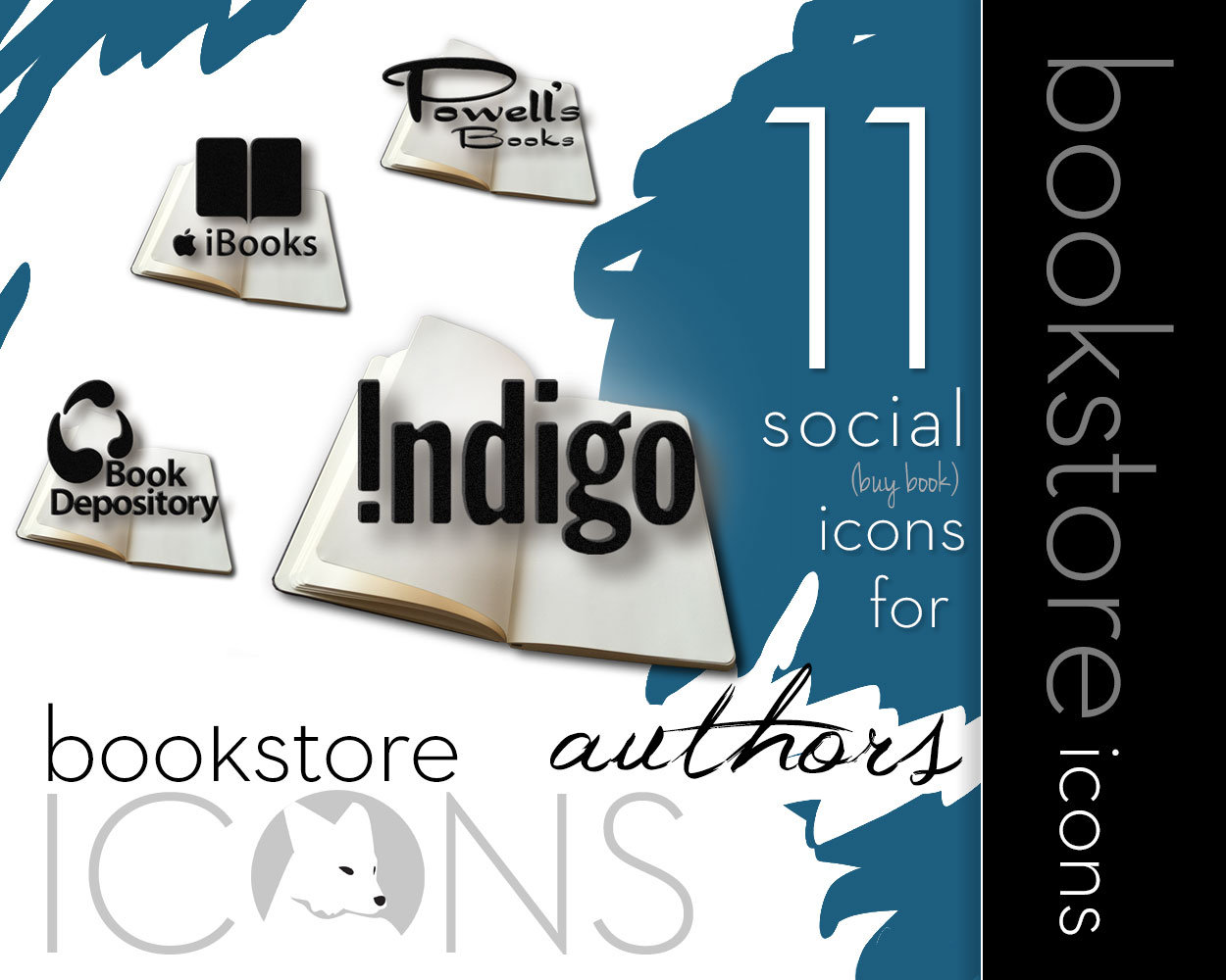 Open Book Bookstore Icons for Authors & Book Bloggers // instant download