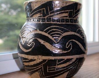 Small Carved Ceramic Pot