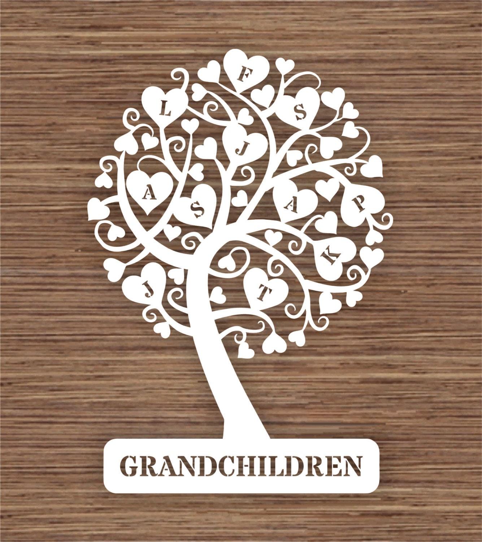 Curly Heart Grandchildren Family Tree For 11 Eleven Family Etsy
