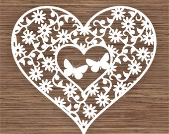 Butterflies in flowers and Heart PDF SVG (Commercial Use) Instant Download Digital Papercut Template