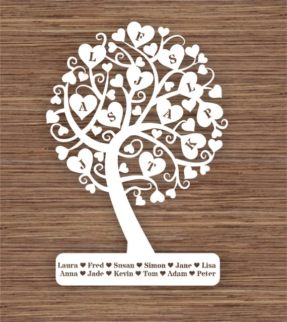 Curly Heart Family Tree For 12 Twelve Family Members Pdf Svg
