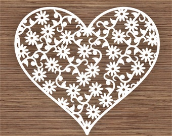 Flower heart design 2 PDF SVG (Commercial Use) Instant Download Digital Papercut Template