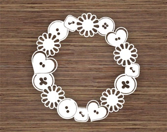 Buttons and Flowers Frame PDF SVG (Commercial Use) Instant Download Papercut Template