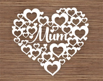Mum in Hearts PDF SVG (Commercial Use) Instant Download Digital Papercut Template