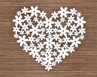 Flower Heart PDF SVG (Commercial Use) Instant Download Digital Papercut Template