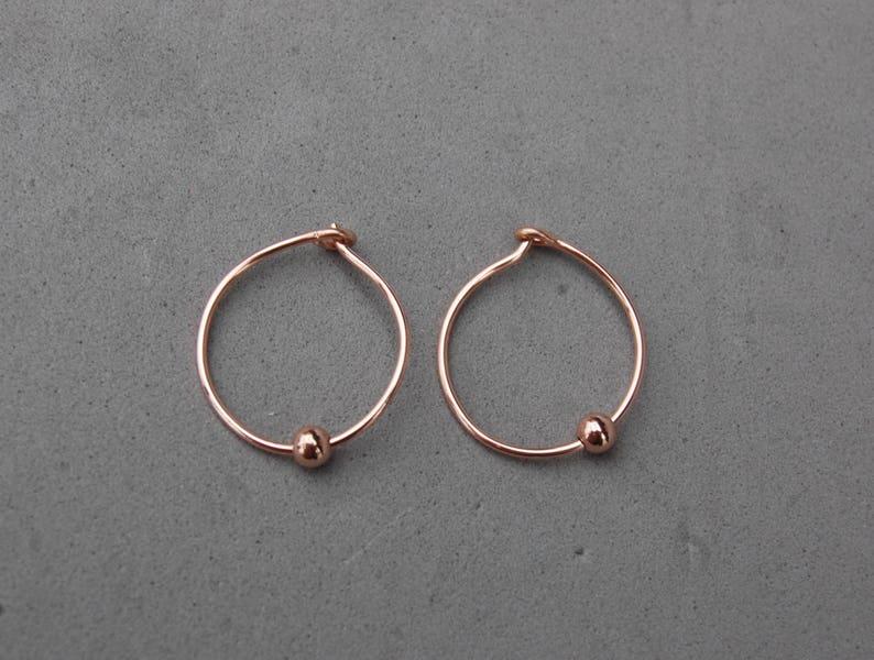 14k Rose Gold Fill Hoop Earrings 15mm Diameter 20 Gauge 3mm Bead Ball Accent New