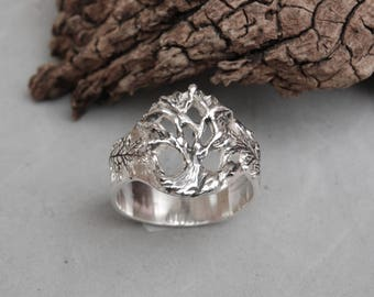 Tree of Life Ring Sterling Silver Size 10 Hand Made