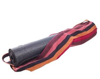 Purple Handwoven Yoga Mat Bag // Striped Pilates Bag. Handmade, Fair Trade.