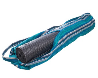 Blue Handwoven Yoga Mat Bag // Striped Pilates Bag. Handmade, Fair Trade.