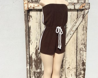 1960s Brown and White Striped Terri Cloth Action Scene Romper Playsuit Size Large