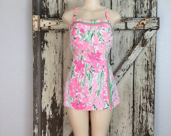 Vintage 1960s White and Pink Floral Pink Sarong Romper Jumpsuit Playsuit Medium 30 Waist