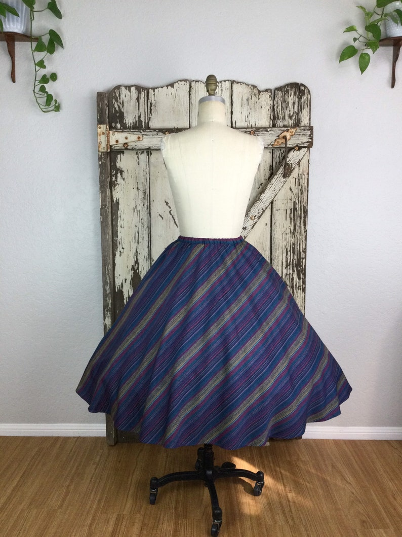 Vintage 70s 1950s Style Blue Pink Yellow and Red Striped Skirt Aline Full Size 12 Small  Medium