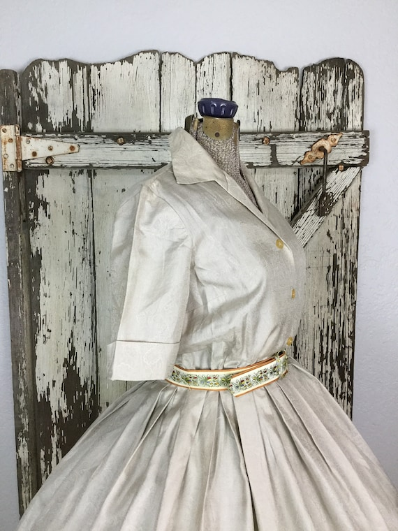 Vintage 1950s Two Piece Silk Cream Collard Buttoned Down Full Dress with Belt Size Small 25 Waist