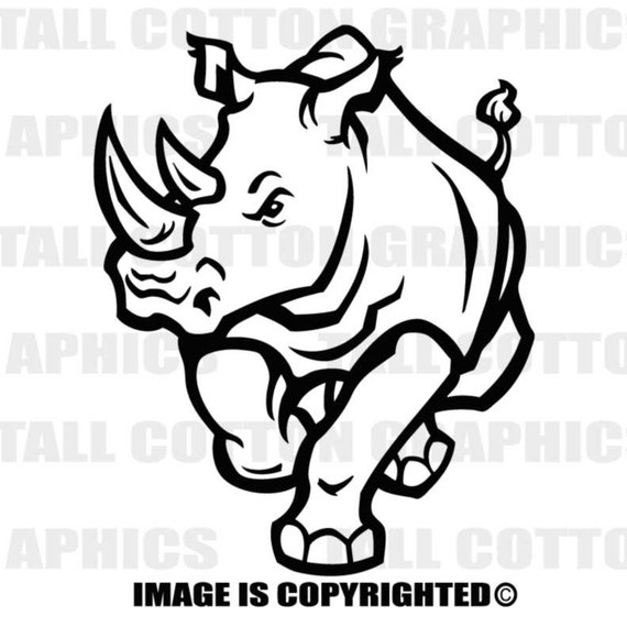 Two Horned Rhinoceros Vinyl Decal Sticker Decor Wl155