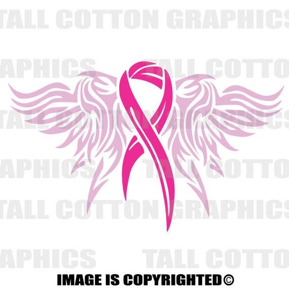 Angel Wings Hot Pink Ribbon Breast Cancer Awareness Vinyl Etsy