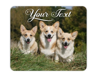 3 Fawn Pembroke Welsh Corgis Print on a Neoprene Backed Non slip Mousepad For Home or Office -  #MP016  - Free Shipping!
