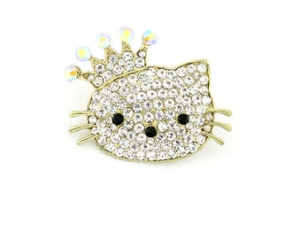 7f54369d7 Hello Kitty Rhinestone Brooch Bridal Bouquet Charm Gold Wedding Baby Shower  Gift Small Brooches DIY Crystal Kitty Broach Crafts