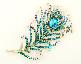 40d7c16e2ff Large Peacock Feather Brooch