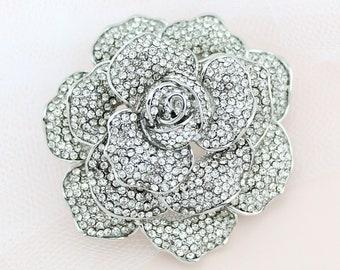 a27e4a604bc Rose Brooch Rhinestone Silver, Wedding Bridal Brooch, Large Dimensional  Brooch, Crystal Peony Flower Brooch, Crystal Rhinestone Broaches