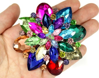 Colorful brooch embroidered by A-Z,with rhinestone fringes,initials,with lapel pin