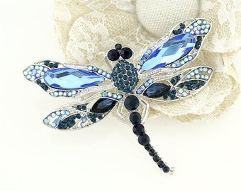 Boho Jewelry Gifts Blue Dragonfly Brooch Crystal Rhinestones Crystals Bug Insect Dragonflies Broach Pin