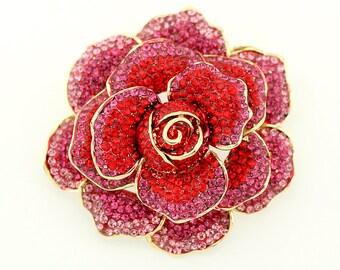 27cef347e35 Rhinestone Rose Brooch, Large Dimensional Brooch, Pink Red Peony Brooch, Flower  Brooches, Crystal Rhinestone Broaches Crafts